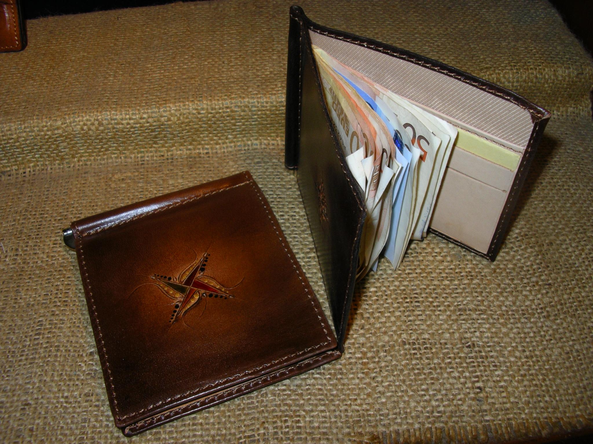 Portafogli cuoio e pelle porta carte e soldi in cuoio - Rito porta soldi ...